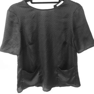 Black satiny short sleeve top